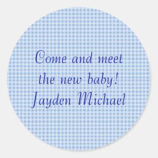 ¡background_3_boy, vienen encontrar al nuevo bebé! pegatina redonda