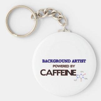 Background Artist Powered by caffeine Basic Round Button Keychain
