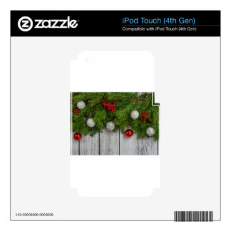background Christmas tree and decoration Skins For iPod Touch 4G
