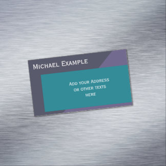 Background Color Blocking - petrol & dark lilac Business Card Magnet