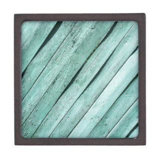 Background from green wooden boards jewelry box