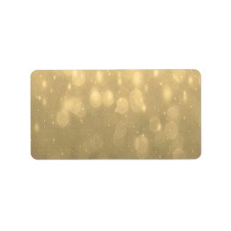 Background - Gold Bokeh Glitter Lights Address Label