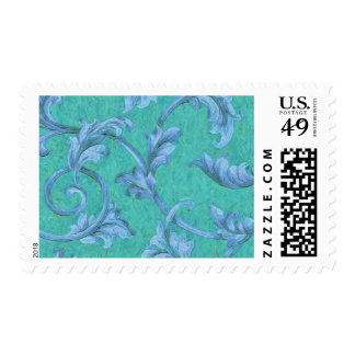 Background of Blue Acanthus on Teal Postage