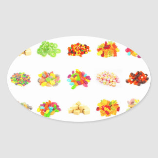 Background of Colorful Candy of Assorted Types Oval Sticker