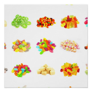 Background of Colorful Candy of Assorted Types Perfect Poster