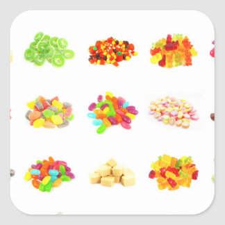 Background of Colorful Candy of Assorted Types Square Sticker