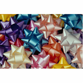 Background of colorful gift bows standing photo sculpture