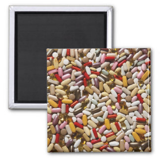 Background of colorful multi-vitamin pills, 2 inch square magnet