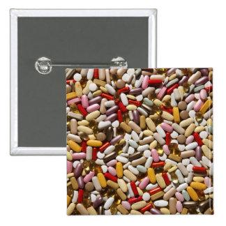 Background of colorful multi-vitamin pills, pinback button