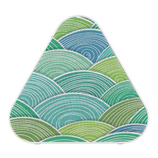 Background of curled abstract green waves bluetooth speaker