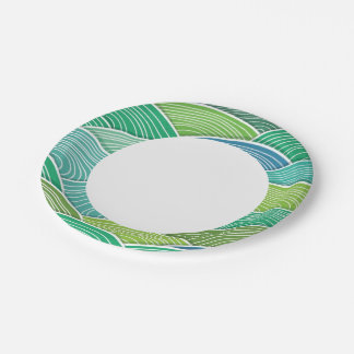Background of curled abstract green waves paper plate