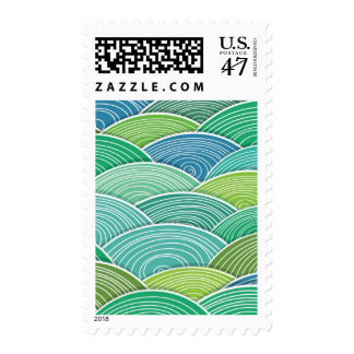 Background of curled abstract green waves postage stamp