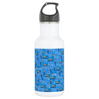 Background of multiple dolphins water bottle