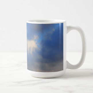 Background of sky with thunderclouds. coffee mug