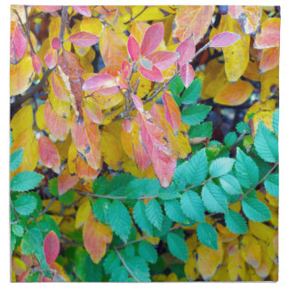 Background of vivid red and green autumn bush leav napkin