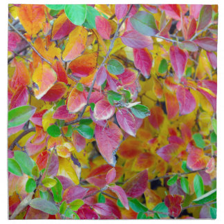 Background of vivid red and green autumn leaves cloth napkin