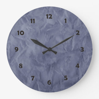 Background PAPER TEXTURE - dirty blue Large Clock