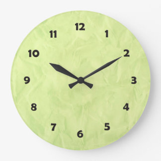 Background PAPER TEXTURE - green Large Clock