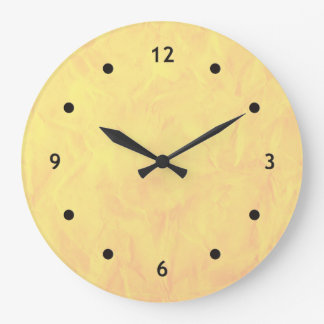 Background PAPER TEXTURE - yellow Large Clock