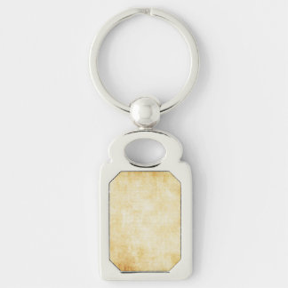 Background | Parchment Paper Silver-Colored Rectangular Metal Keychain