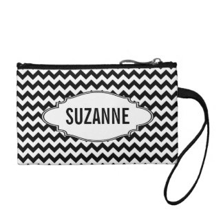 Background Pattern with Tag and Personalization Change Purses