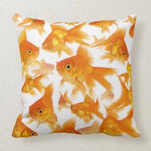 Background Showing a Large Group of Goldfish Throw Pillows