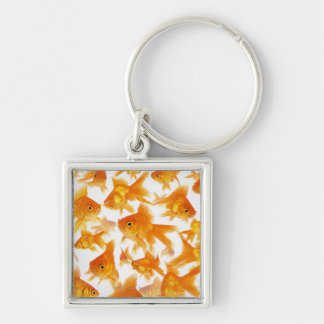 Background Showing a Large Group of Goldfish Silver-Colored Square Keychain