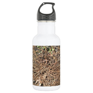 Background Texture of Dry Pine Leaves 18oz Water Bottle