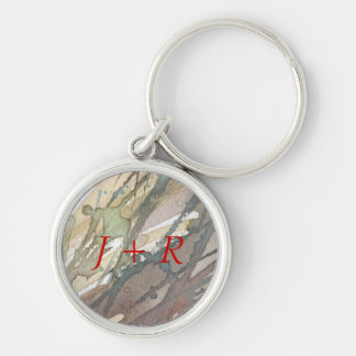 background watercolor 2 Silver-Colored round keychain