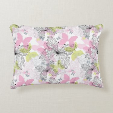 Background with butterfly accent pillow