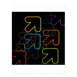 Background with colorful arrows pointing diagonall postcard