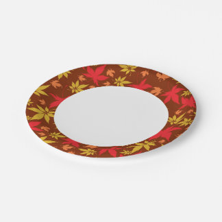 Background with colorful Autumn Leaves Paper Plate
