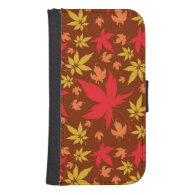 Background with colorful Autumn Leaves Galaxy S4 Wallet Cases