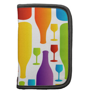 Background with colorful bottles and glasses organizers