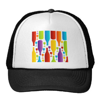 Background with colorful bottles and glasses trucker hat