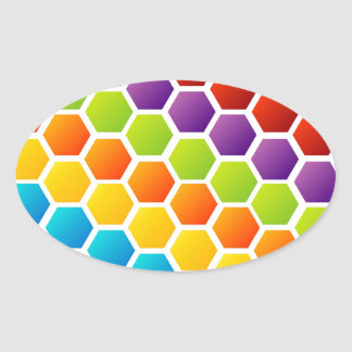 Background with colorful hexagon oval sticker