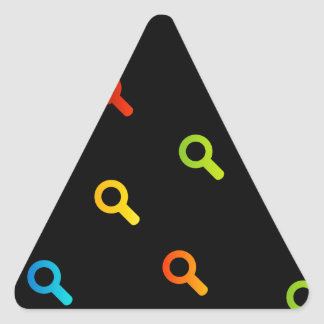 Background with colorful magnifying glasses triangle sticker