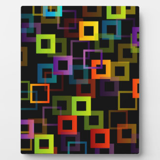 Background with colorful squares plaque