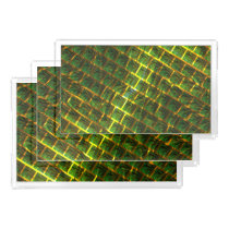 Background with green image under gold grating? acrylic tray
