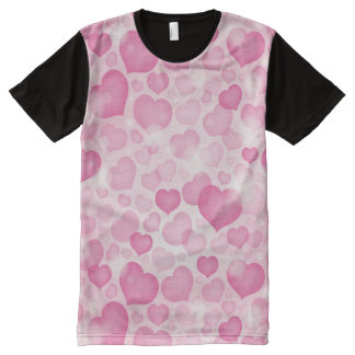 Background with Hearts All-Over Print T-shirt