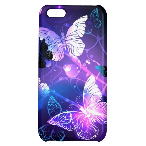 Background with Night Butterflies Case For iPhone 5C