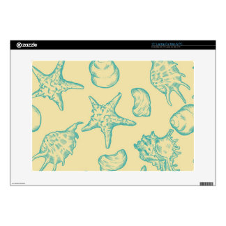 Background with shells. Hand drawn Skin For Laptop