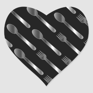 Background with spoons and forks heart sticker