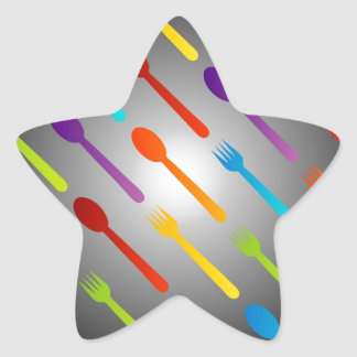 Background with spoons and forks star sticker