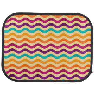 Background with stripes in retro 2 car floor mat