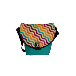 Background with stripes in retro 2 messenger bag
