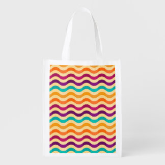 Background with stripes in retro 2 grocery bag