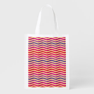 Background with stripes in retro 3 reusable grocery bags