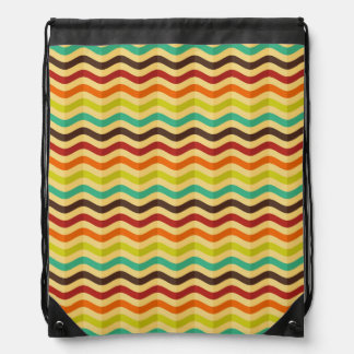 Background with stripes in retro 4 drawstring backpack