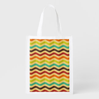 Background with stripes in retro 4 reusable grocery bags